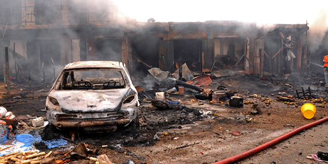 wreckage following bomb blast at Terminus market in Jos. Nigeria