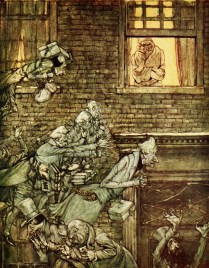 Scrooge wird von Geistern heimgesucht, die ihm sein Schicksal zeigen sollen.