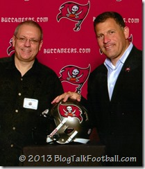 Buccaneers Head Coach Greg Schiano with Micheal Savoie