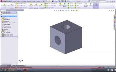 Dessiner un cube avec des percages dans Solidworks