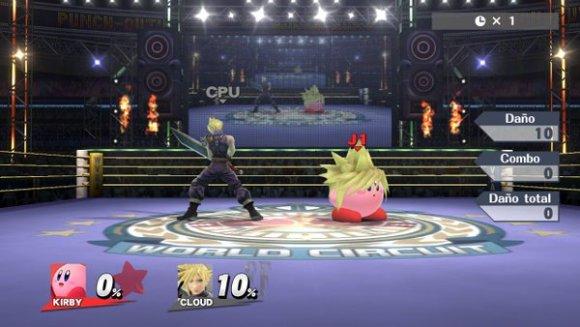 Cloud y Kirby compartiendo escenario en Smash Bros for Wii U