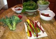 Swiss chard, rainbow chard, broccoli, strawberries, green leaf lettuce---mmmmmm . . .