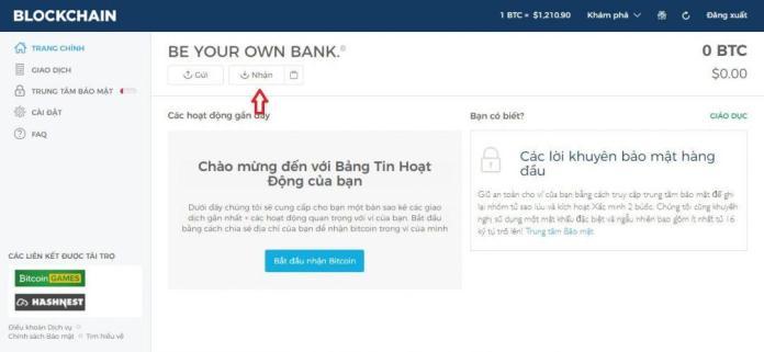Lấy địa chỉ ví bitcoin của bạn