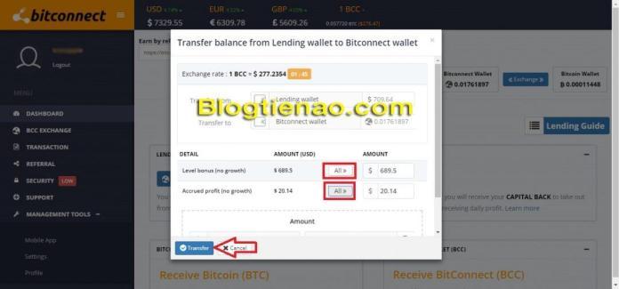 Rút lãi Bitconnect. Ảnh 2