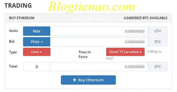 Nhập thông tin mua Altcoin