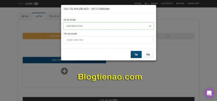 Thêm tài khoản Vietcombank
