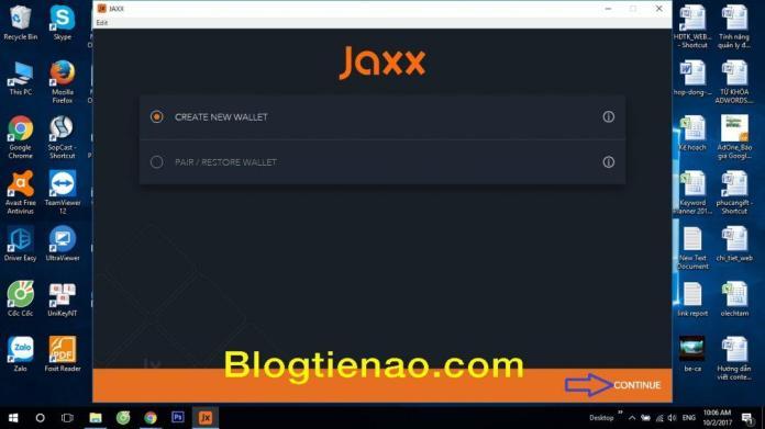 Tạo ví Jaxx trên máy tính