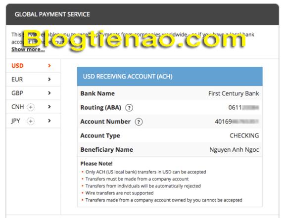 Các lấy thông tin số tài khoản US để nhận tiền qua Payoneer. Ảnh 2