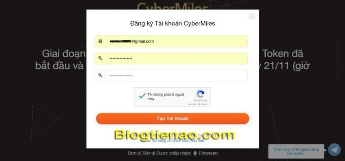 Đăng ký tài khoản CyberMiles. Ảnh 2
