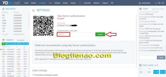 Bật bảo mật 2FA cho tài khoản YoBit. Ảnh 5