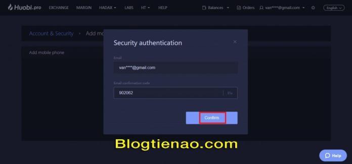 Bảo mật tài khoản HuobiPro. Ảnh 6