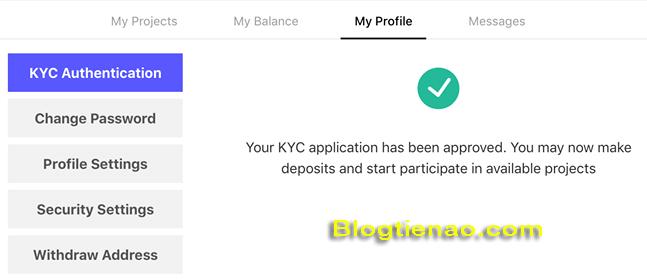 KYC thành công