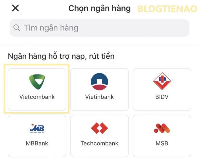 Chọn ngân hàng cần liên kết