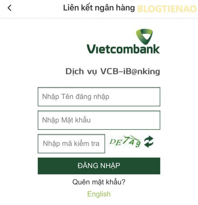 Đăng nhập tài khoản ngân hàng cần liên kết với ví VinID