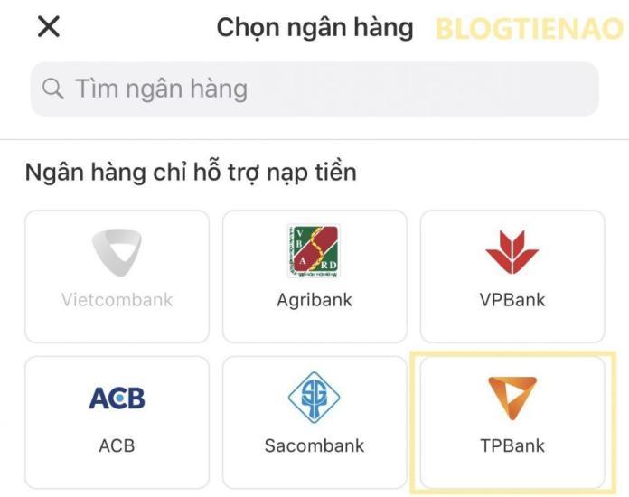 Chọn ATM ngân hàng cần liên kết