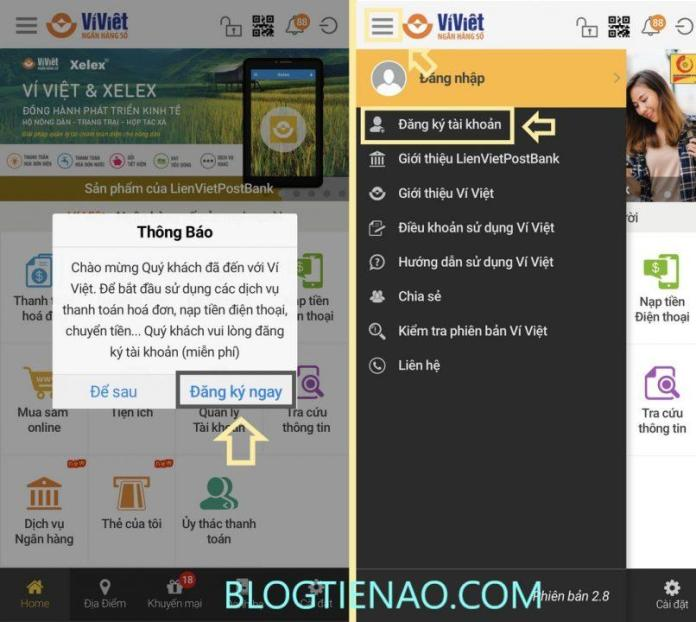 Đăng ký tài khoản Ví Việt