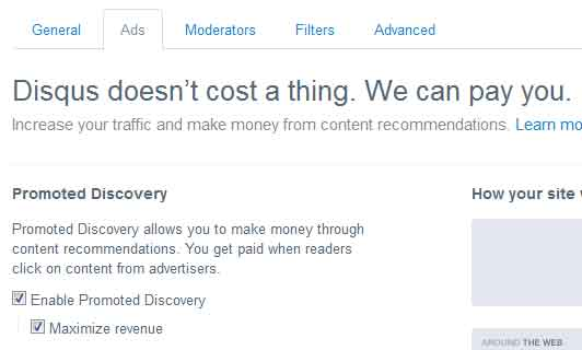 Make money with Disqus promoted discovery