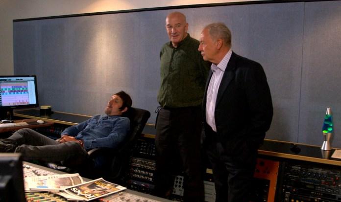 Programme Name: Brian Pern: 45 Years of Prog and Roll - Luke, Brian and John discuss recording in the studio Luke Dunmore (CHRISTOPHER ECCLESTON), Brian Pern (SIMON DAY), John Farrow (MICHAEL KITCHEN) - (C) BBC - Photographer: .