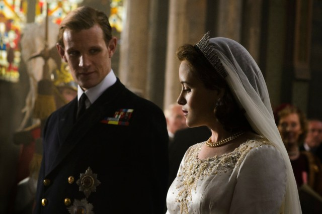 The Crown - Matt Smith (Prince Philip) 7 Claire Foy (Queen Elizabeth II) - Photo Credit - Alex Bailey/Netflix