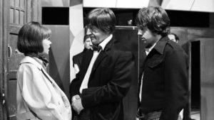 Zoe (Wendy Padbury, The Doctor (Patrick Troughton) and Jamie (Frazer Hines) - Doctor Who - The War Games (c) BBC