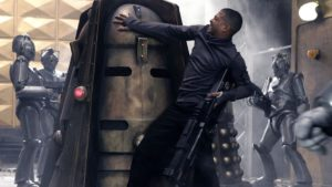 Mickey Smith (Noel Clarke) and the Daleks and the Cybermen - Doctor Who - Doomsday (c) BBC