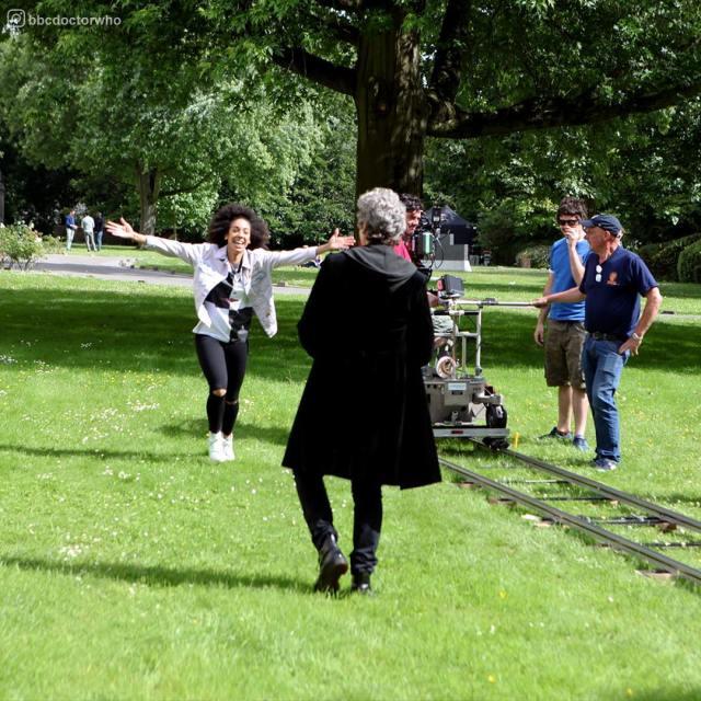 Pearl Mackie and Peter Capaldi on set filming of series 10 (c) BBC