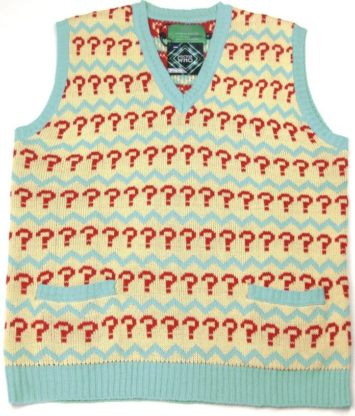 Seventh Doctor Jumper - Official BBC Doctor Who 7th Doctor (Sylvester McCoy) Question Mark Tank Top Sweater