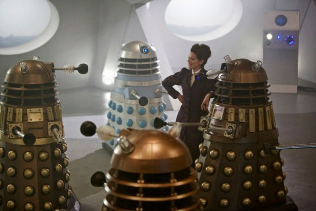Doctor Who - THE WITCH'S FAMILIAR (By Steven Moffat) (No. 2) - Picture Shows: Missy (MICHELLE GOMEZ), Daleks - (C) BBC - Photographer: Simon Ridgway