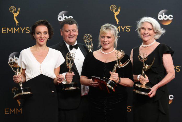 Amanda Abbington, Steven Moffat, Sue Vertue and Rebecca Eaton 68th Primetime Emmy Awards, Press Room, Los Angeles, USA - 18 Sep 2016 - Mandatory Credit: Photo by Jim Smeal /REX/Shutterstock