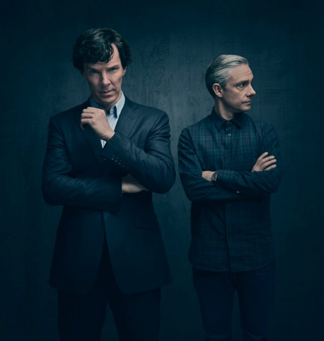 Sherlock - early release Sept (No. n/a) - Picture Shows: (L-R) Sherlock Holmes (BENEDICT CUMBERBATCH), Dr John Watson (MARTIN FREEMAN) - (C) Hartswood Films - Photographer: Todd Antony
