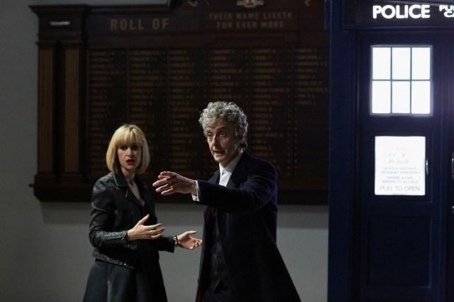 Class - Ep1 (L-R) Miss Quill (KATHERINE KELLY), The Doctor (PETER CAPALDI) - (C) BBC - Photographer: Simon Ridgeway