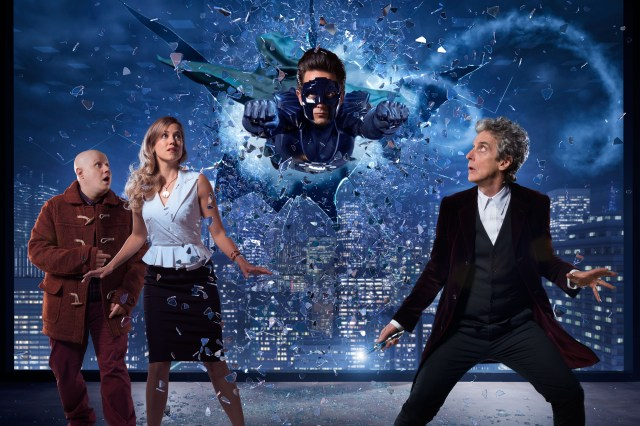 Doctor Who Christmas Special 2016 - TX: n/a - Episode: The Return of Doctor Mysterio (No. n/a) - Picture Shows: ***EMBARGOED UNTIL 1st DEC 2016*** Nardole (MATT LUCAS), Lucy Fletcher (CHARITY WAKEFIELD), The Ghost (JUSTIN CHATWIN), Doctor Who (PETER CAPALDI) - (C) BBC - Photographer: Ray Burmiston