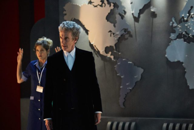 Doctor Who Xmas Special 2016 - Charity Wakefield as Lucy and Peter Capaldi as The Doctor - BBC - Photo Simon Ridgeway