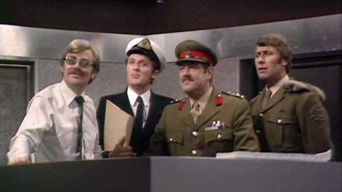 Grierson, Harry, Colonel Faraday and Benton - Doctor Who - The Android Invasion © BBC
