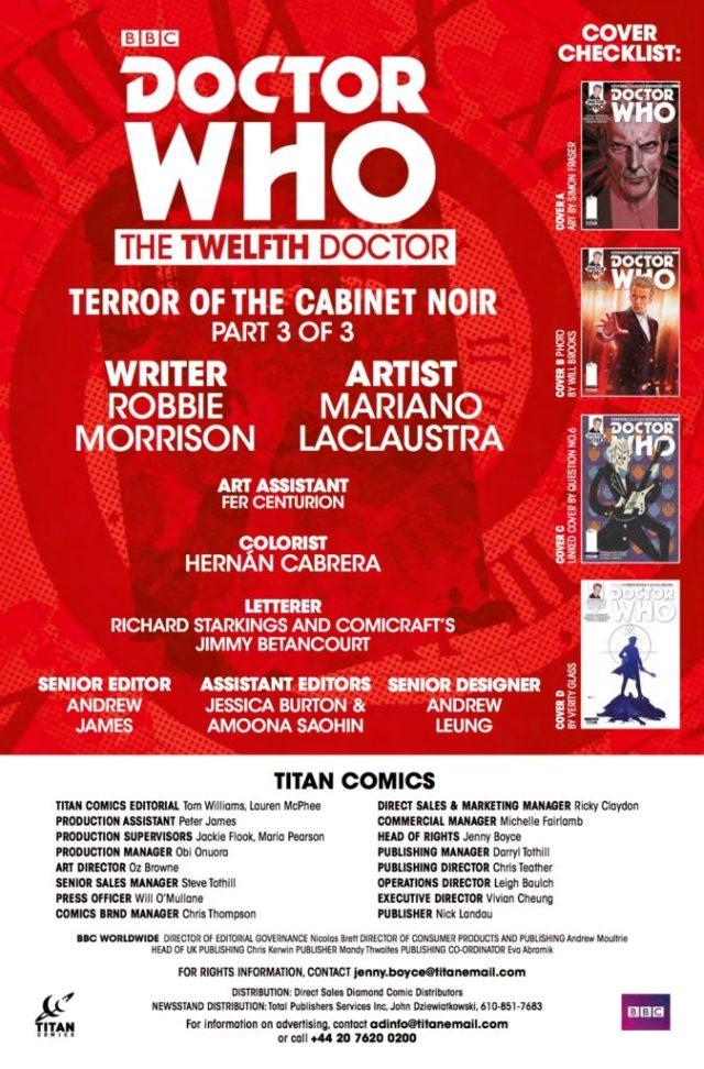 TITAN COMICS - DOCTOR WHO 12th #2.13 - Credits
