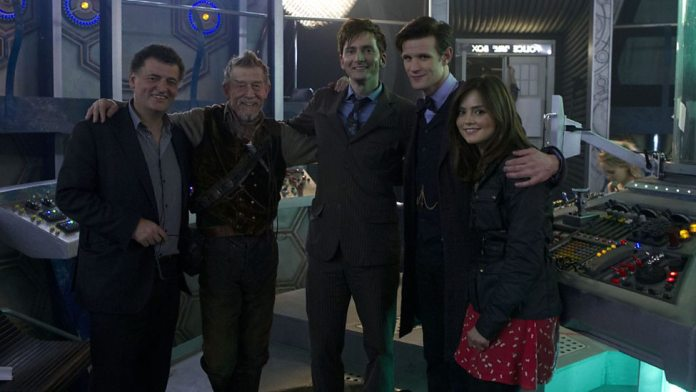 Steven Moffat, John Hurt, David Tennant, Matt Smith and Jenna Coleman on the set of Doctor Who - The Day of the Doctor (c) BBC