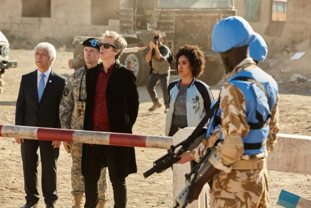 Doctor Who - The Pyramid At The end Of The World Secretary General (TOGO IGAWA), The Commander (NIGEL HASTINGS), The Doctor (PETER CAPALDI), Bill (PEARL MACKIE) - (C) BBC/BBC Worldwide - Photographer: Simon Ridgway