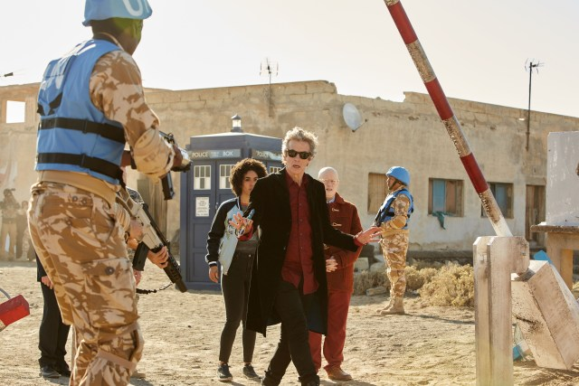 Doctor Who S10 - TX: 27/05/2017 - Episode: The Pyramid At The end Of The World (No. 7) - Bill (PEARL MACKIE), The Doctor (PETER CAPALDI), Nardole (MATT LUCAS) - (C) BBC/BBC Worldwide - Photographer: Simon Ridgway