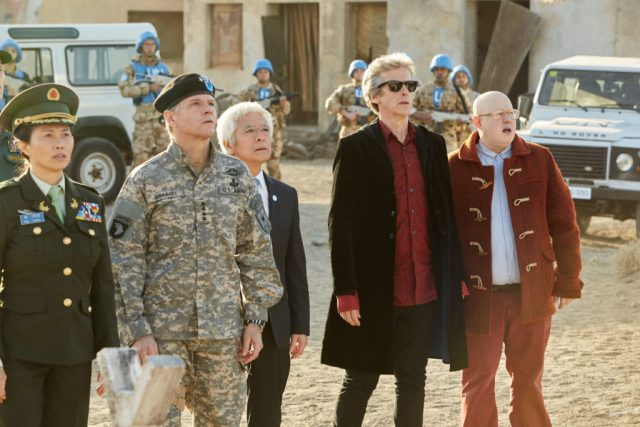Doctor Who The Pyramid At The end Of The World (No. 7) - Xiaolian (DAPHNE CHEUNG), The Commander (NIGEL HASTINGS), Secretary General (TOGO IGAWA), The Doctor (PETER CAPALDI), Nardole (MATT LUCAS) - (C) BBC/BBC Worldwide - Photographer: Simon Ridgway