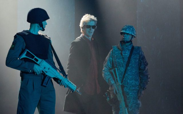 Doctor Who S10 - TX: 27/05/2017 - Episode: The Pyramid At The end Of The World (No. 7) - Picture Shows: Soldiers, The Doctor (PETER CAPALDI) - (C) BBC/BBC Worldwide - Photographer: Simon Ridgway