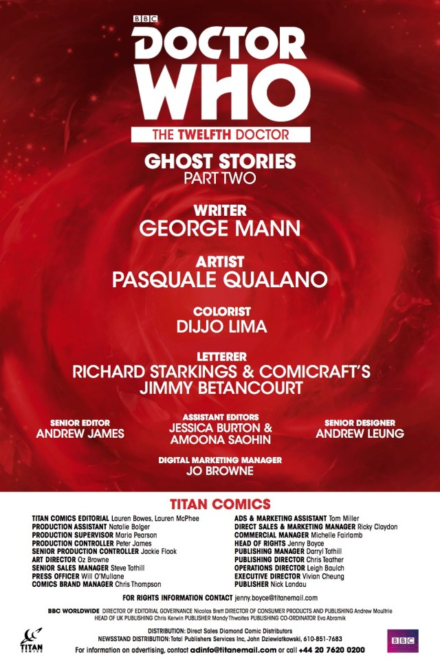 TITAN COMICS - Doctor Who: Ghost Stories #2 Credits
