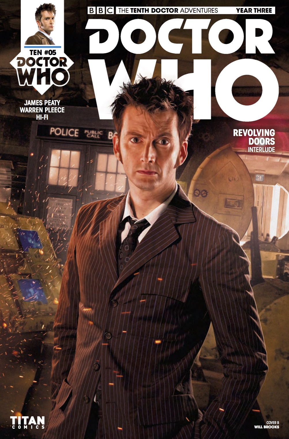 TITAN COMICS - TENTH DOCTOR YEAR THREE #5 COVER B: WILL BROOKS