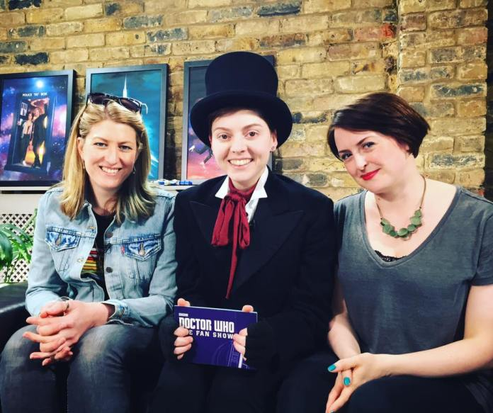 Doctor Who The Fan Show Writer Sarah Dollard and Costume Designer Hayley Nebauer with Christel Dee