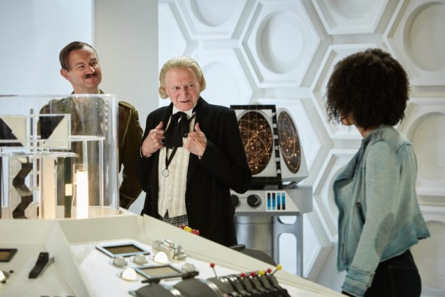 Doctor Who - Twice Upon a Time - The Captain (MARK GATISS), The First Doctor (DAVID BRADLEY), Bill (PEARL MACKIE) - (C) BBC/BBC Worldwide - Photographer: Simon Ridgway