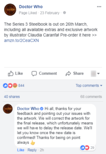 The official Doctor Who Facebook page weighed in with the news earlier today.