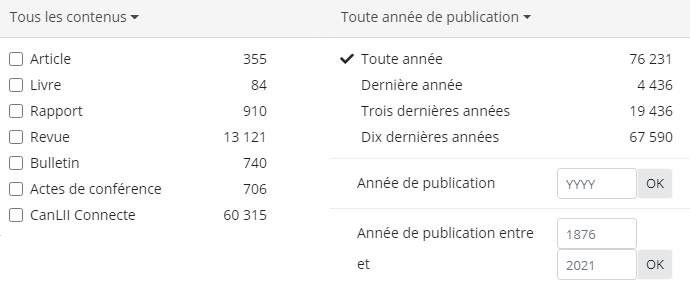 Capture d'écran des onglets de sous-filtre étendus «contenu des commentaires» et «publication des commentaires».