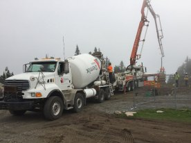 Concrete pouring for the front pylon at the summit terminal.