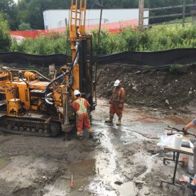 Drilling for soil tests for foundations of the base terminal.