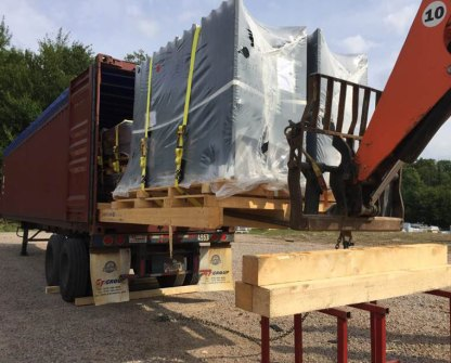 Unloading of seven containers from Austria.