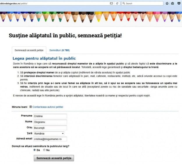 petiţie pentru a alăpta în public